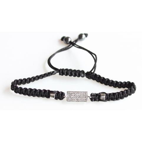 Bracelet Tressé Plaque Strass