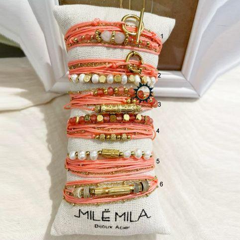 Bracelets corde et pierre corail