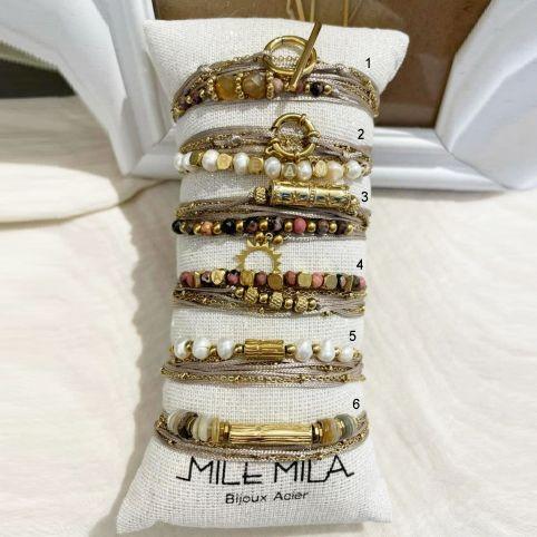 Bracelets corde et pierre gris